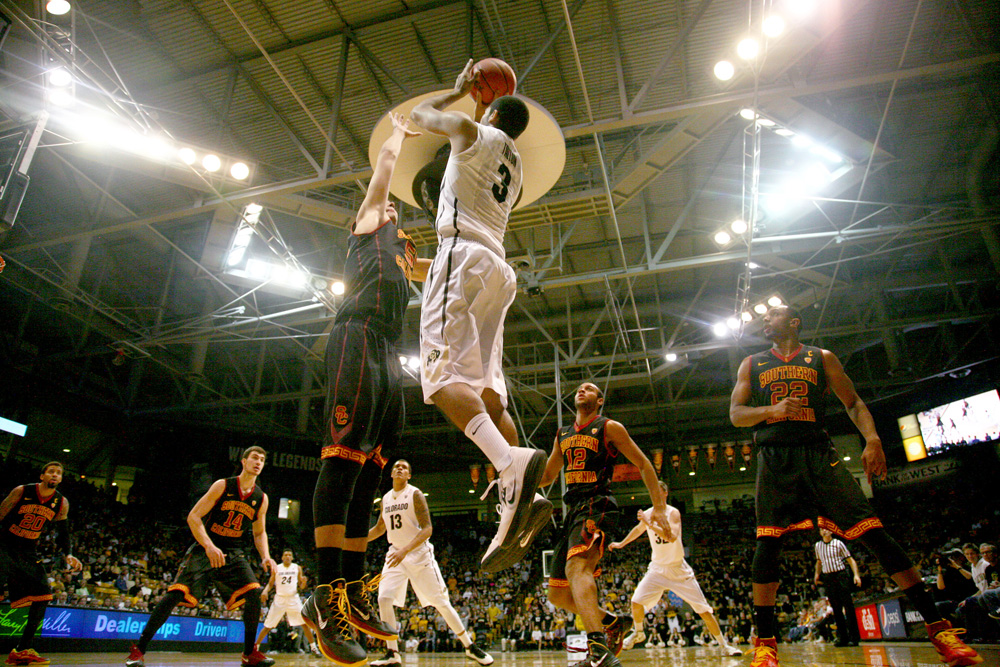 Sophomore guard Xavier Talton shoots during the second half of Colorado's 83-62 win over USC. (James Bradbury/CU Independent)