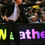 Colorado head coach Tad Boyle points to his players while giving intructions. (Kai Casey/CU Independent)