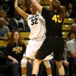 Colorado sophomore forward Arielle Roberson (32) keeps the ball away from Arizona State's Eliza Normen (43) near the sideline. (Kai Casey/CU Independent)