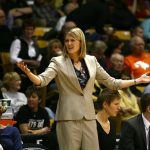 Colorado head coach Linda Lappe shows her disappointment with a call by the referees. (Kai Casey/CU Independent)