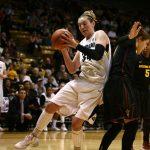 Colorado junior forward Jen Reese (34) grabs a rebound behind Arizona State's Katie Hempen (0). (Kai Casey/CU Independent)