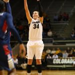 Junior forward Jen Reese shoots a jumper in the first half against the Arizona Wildcats at the Coors Event Center. (Nigel Amstock/CU Independent)