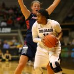 Senior guard Brittany Wilson looks to pass the ball while Arizona senior guard Carissa Crutchfield attempts to block her lane. (Nigel Amstock/CU Independent)