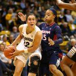 Freshman guard Haley Smith drives past an Arizona defender. (Nigel Amstock/CU Independent)