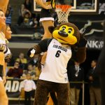 """CU mascot """"Chip"""" pumps up the crowd during a break in the action. (Nigel Amstock/CU Independent)"""