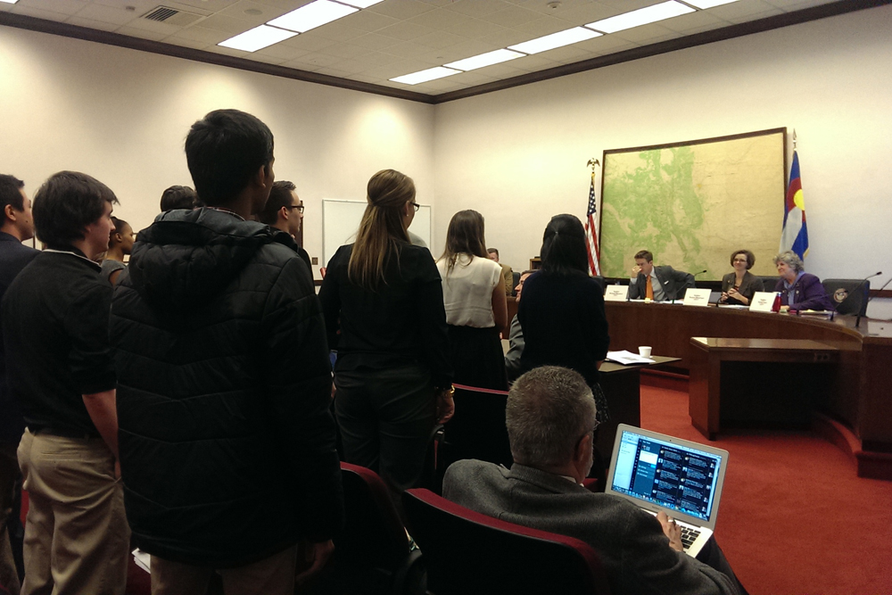 Students from eight Colorado universities and colleges attending the first hearing of the College Affordability Act; stand to be recognized by the Colorado Senate Education Committee on Wednesday, Jan. 29, 2014. (Alison Noon/CU Independent)