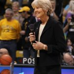 Former Colorado women's basketball coach Ceal Barry presents the first ever Jane Wahl Legacy Award. (Maddie Shumway/CU Independent)