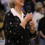 Former Colorado athletic director Jane Wahl receives the first ever Jane Wahl Legacy Award from Ceal Barry. Wahl was the first women's athletic director at CU. (Maddie Shumway/CU Independent)