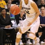 Colorado sophomore foward Arielle Roberson heads down the court with the ball. This is Roberson's second year playing on CU's women's basketball team. (Maddie Shumway/CU Independent)