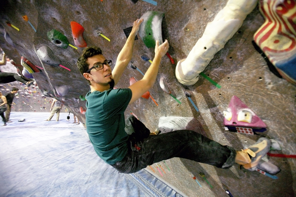 """I like to climb because I think it's the perfect combination of strength and focus. I feel like it centers me."" ""Have you noticed a strong community of climbers around here?"" ""Absolutely, it's the Mecca of climbing."""