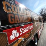 The College GameDay bus sits in the parking lot of Millenium Harvest House on 28th Street, Friday, Feb. 21, 2014, in Boulder, Colo. ESPN's College GameDay will broadcast live from the Coors Events Center starting at 8 a.m. (Kai Casey/CU Independent)