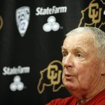 Digger Phelps, an analyst with ESPN's College GameDay, addresses the media during a press conference in media room of the Coors Events Center. Phelps coached the University of Notre Dame Fighting Irish from 1971 to 1973. (Kai Casey/CU Independent)