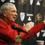 Digger Phelps, an analyst with ESPN's College GameDay, addresses the media during a press conference in media room of the Coors Events Center. (Kai Casey/CU Independent)