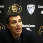 Rece Davis, the anchor of ESPN's College GameDay, addresses the media during a press conference in media room of the Coors Events Center. (Kai Casey/CU Independent)