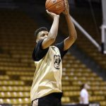 Colorado freshman George King (24) shoots a three-pointer during practice. (Kai Casey/CU Independent)