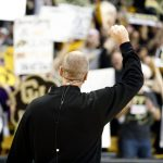 Colorado head coach Tad Boyle raises his hand in appreciation of the fans' support during the ESPN College GameDay broadcast at the Coors Events Center, Saturday, Feb. 22, 2014, in Boulder, Colo. (Kai Casey/CU Independent)