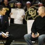 Colorado head coach Tad Boyle, right, answers a question from GameDay anchor Rece Davis during the ESPN College GameDay broadcast at the Coors Events Center, Saturday, Feb. 22, 2014, in Boulder, Colo. (Kai Casey/CU Independent)
