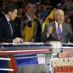 Digger Phelps, right, gives his opinion as Rece Davis looks on during the ESPN College GameDay broadcast at the Coors Events Center, Saturday, Feb. 22, 2014, in Boulder, Colo. (Kai Casey/CU Independent)