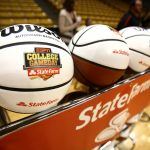 A rack of College GameDay basketballs sits on the court during the ESPN College GameDay broadcast at the Coors Events Center, Saturday, Feb. 22, 2014, in Boulder, Colo. (Kai Casey/CU Independent)