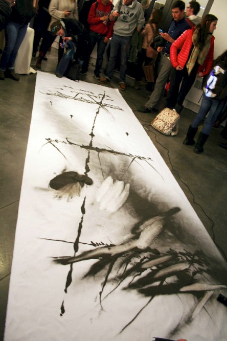 Jongku Kim's artwork sits in the VAC during his performance Tuesday, Feb. 11, 2014 in Boulder, Colo. (Allie Greenwood/CU Independent)