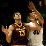 Arizona State's senior center, Jordan Bachynski, and Colorado's sophomore forward, Josh Scott, battle for a rebound in the first half. Bachynski gave Scott a concussion last time the Sun Devils were in Coors Event Center. (Matt Sisneros/CU Independent)