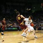 Xavier Johnson drives past Arizona St. center Jordan Bachynski. (Matt Sisneros/CU Independent)