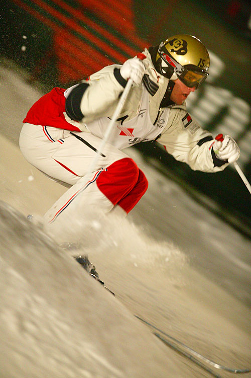 Jeremy Bloom competes in the 2004 FIS Freestyle Ski World Cup at Deer Valley Resort in Park City, Utah. (Photo by Dan Campbell, Courtesy of Megan Leeds)
