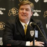 Newly-hired head football coach Mike MacIntyre speaks at a press conference for signing day on Feb. 6, 2013. (Nate Bruzdzinski/CU Independent)