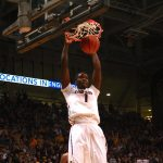 Colorado's Wesley Gordon dunks the ball in the first half. (Allie Greenwood/CU Independent)