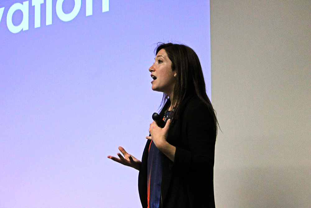 Randi Zuckerberg describes the impact that social media has on our society during her presentation. (Maddie Shumway/CU Independent)