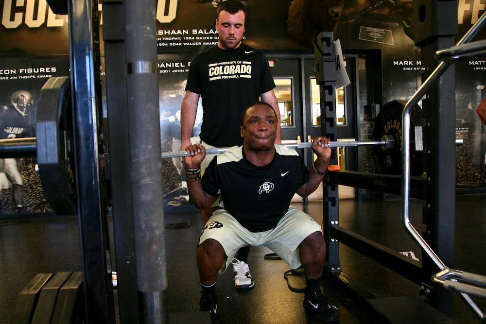Senior tailback Tony Jones squats during an afternoon workout.  (Nate Bruzdzinksi/CU Independent)