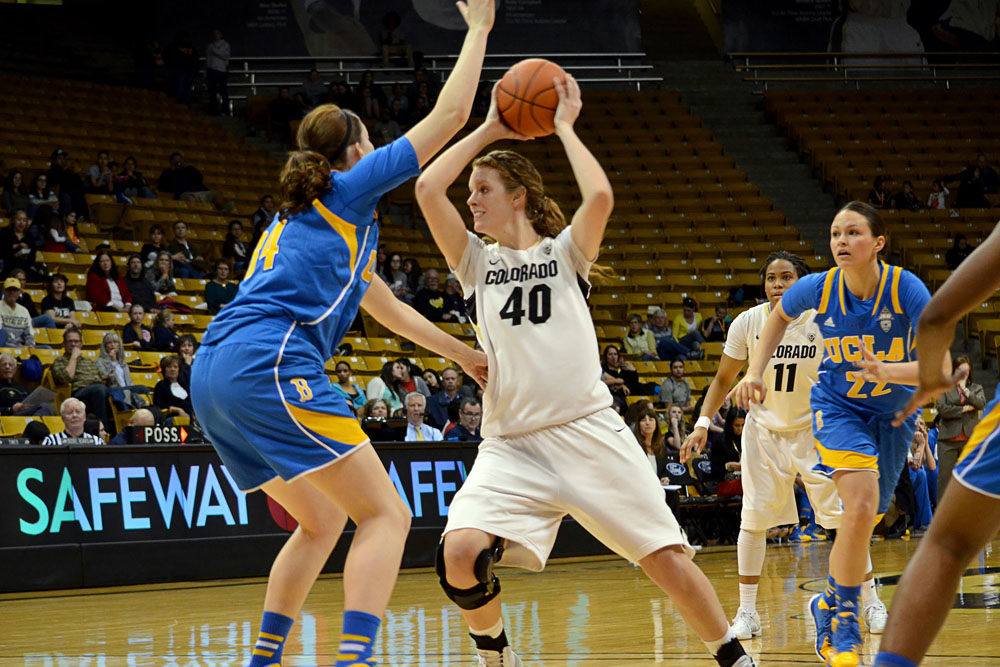 Colorado Buffaloes center Rachel Hargis (40) looks to get around UCLA Bruins forward Corinne Costa (34) at Friday night's game on February 28th. (Elizabeth Rodriguez/ CU Independent)