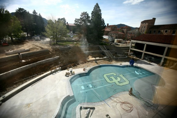 The CU Recreation Center's outdoor pool remains under construction on Monday. (James Bradbury/CU Independent)