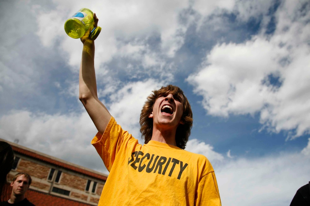 Physics major Daniel Ellis Schwartz leads a crowd in protest against the university's handling of 4/20 on April 20, 2012. (CU Independent/James Bradbury)