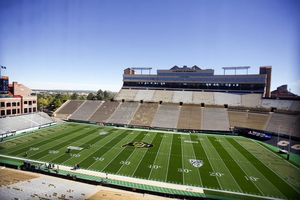 General view of Folsom Field looking east before the game between Colorado and Oregon at Folsom Field, Saturday, Oct. 5, 2013. (Kai Casey/CU Independent)