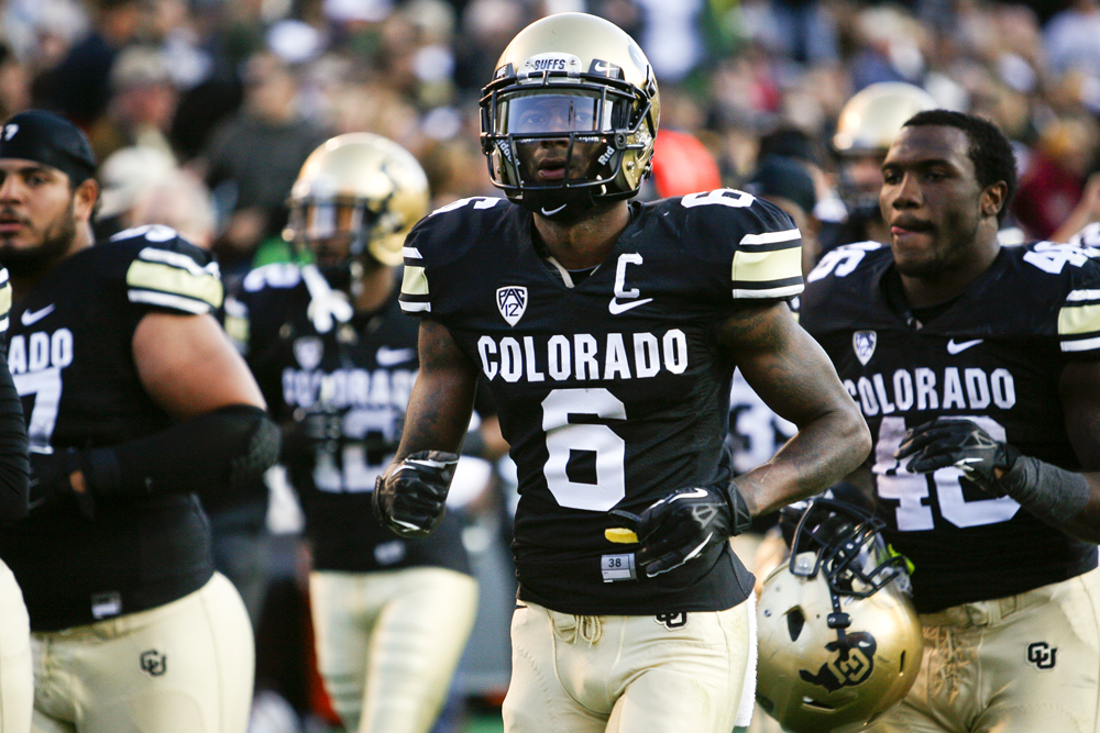 Junior wide receiver Paul Richardson (6) runs off the field at halftime of the game between Colorado and Oregon at Folsom Field, Oct. 5, 2013. (Kai Casey/CU Independent)