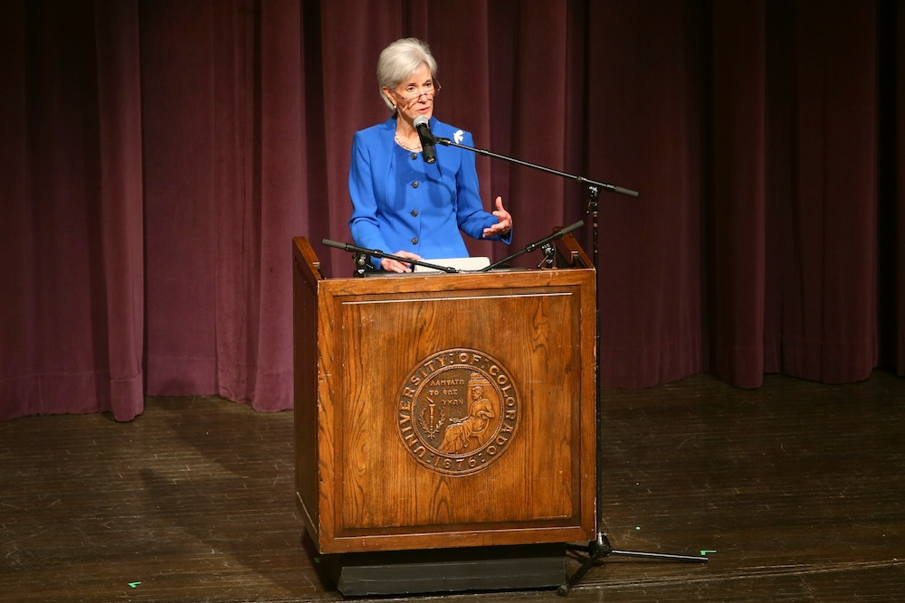 Kathleen Sebelius, the fomer United States Secretary of Health and Human Services, addresses the crowd during her keynote speech at the 66th Conference of World Affairs in Macky Auditorium at the University of Colorado Boulder on April 7, 2014. (Nigel Amstock/CU Independent)