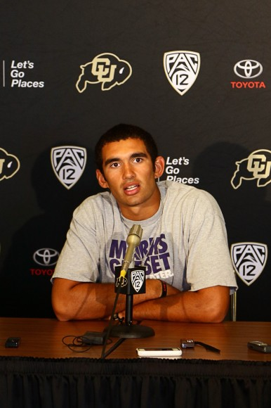 "Colorado team captain and starting quarterback Sefo Liufau speaks at the Tuesday press conference. ""We are going to treat it like the Super Bowl…we just want to go 1-0 each week,"" Liufau said. (Nigel Amstock/CU Independent)"