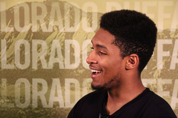 Incoming freshman point guard Dom Collier laughs during an exclusive interview with the CU Independent. Collier should fill part of the gap left by the departure of Spencer Dinwiddie. (Gray Bender/CU Independent)