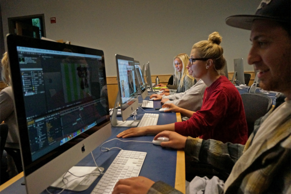 Students of CU's new Technology, Arts and Media programs work in ATLAS computer labs. (Photo courtesy of  Ira Liss/ATLAS Communications)