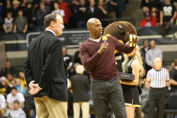 Former Buff and NBA great Chauncey Billups reminisces about his time spent at Colorado in the mid 90's during a break in gameplay at Coors Event Center on Feb. 26, 2015. (Nigel Amstock/CU Independent)