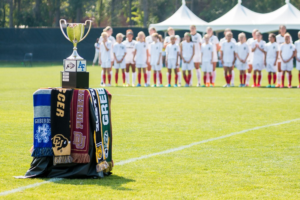 The Colorado Cup stands on the field during introductions of the CU soccer team in their match against Colorado College. (Matt Sisneros/CU Independent)