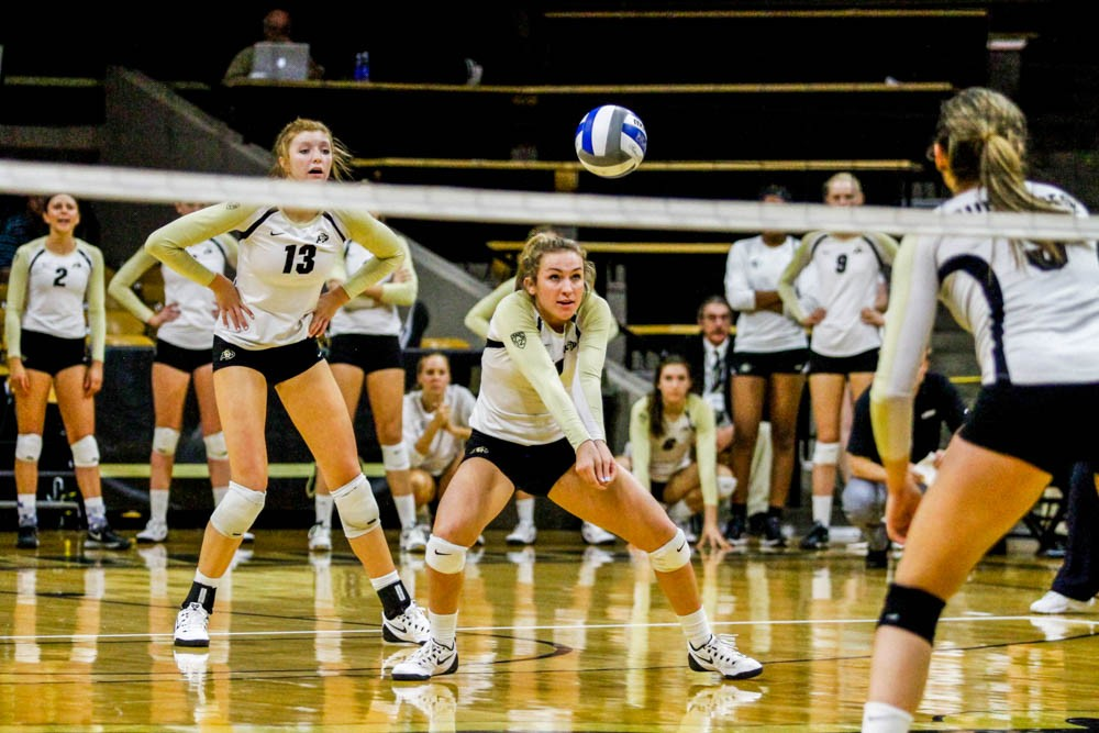 Freshman number 11, Abbie D'Agosta bumps the ball on Friday's match against Monatan State. (Danny Anderson / CU Independent)