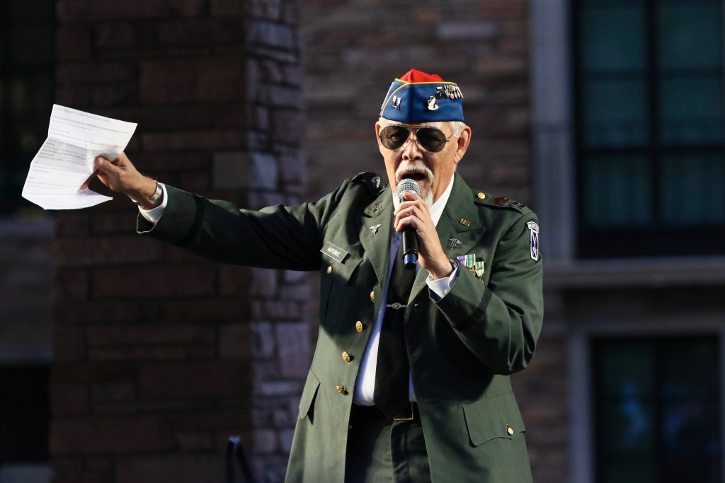 Marine Corps veteran George Autobee speaks on the contributions of latino serviceman during the My Country, My Vote Immigration rally on Folsom Field. (Nigel Amstock/CU Independent)