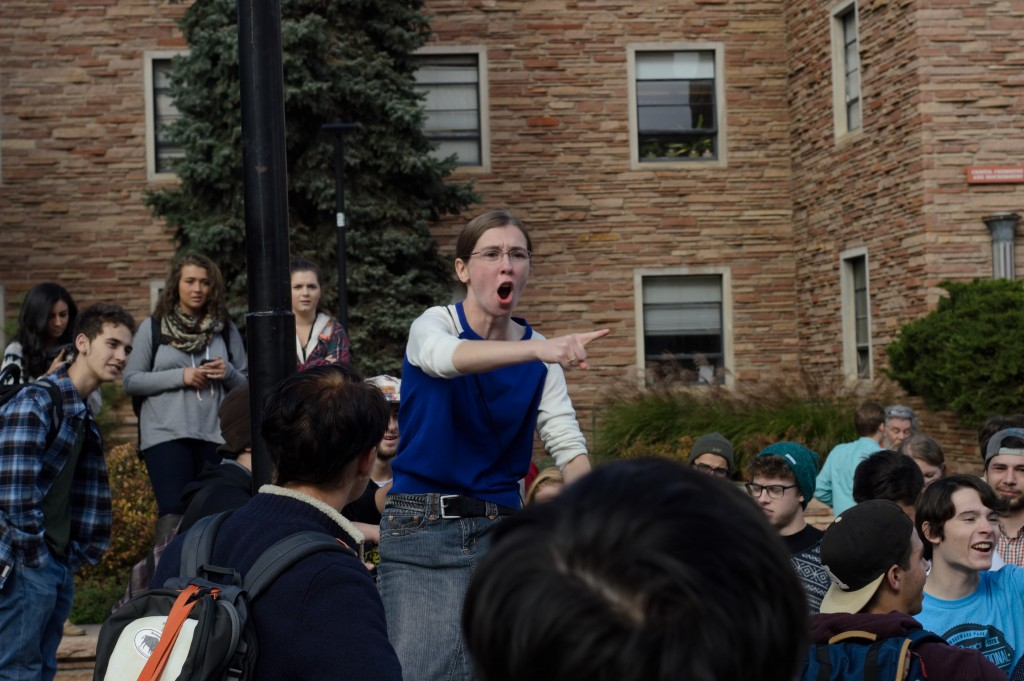 A Christian extremist passionately preaches to the students of the University of Colorado on Oct. 28, 2015, the day of the GOP debate. (Vincent Guielo/CU Independent)