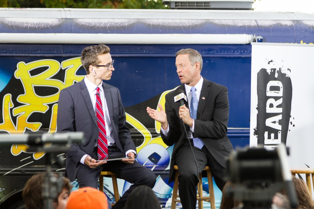 Martin O'Malley speaks with the host of Be Heard TV about college tution outside of CU's UMC building. October 28th, 2015. (Will Mckay/CU Independent)