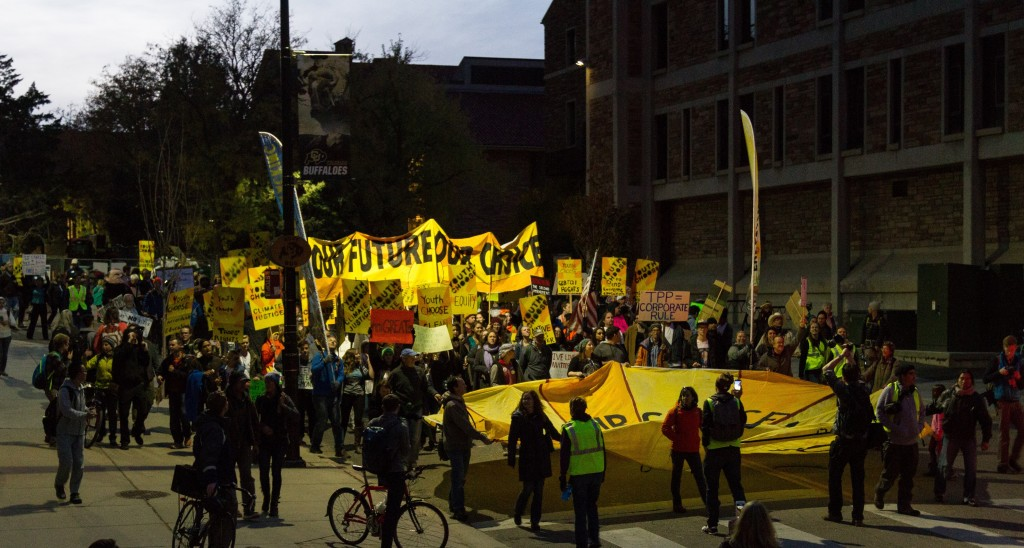The Our Future Our Choice protest made it's way to the business field on October 28th, 2015. (Will McKay/CU Independent)