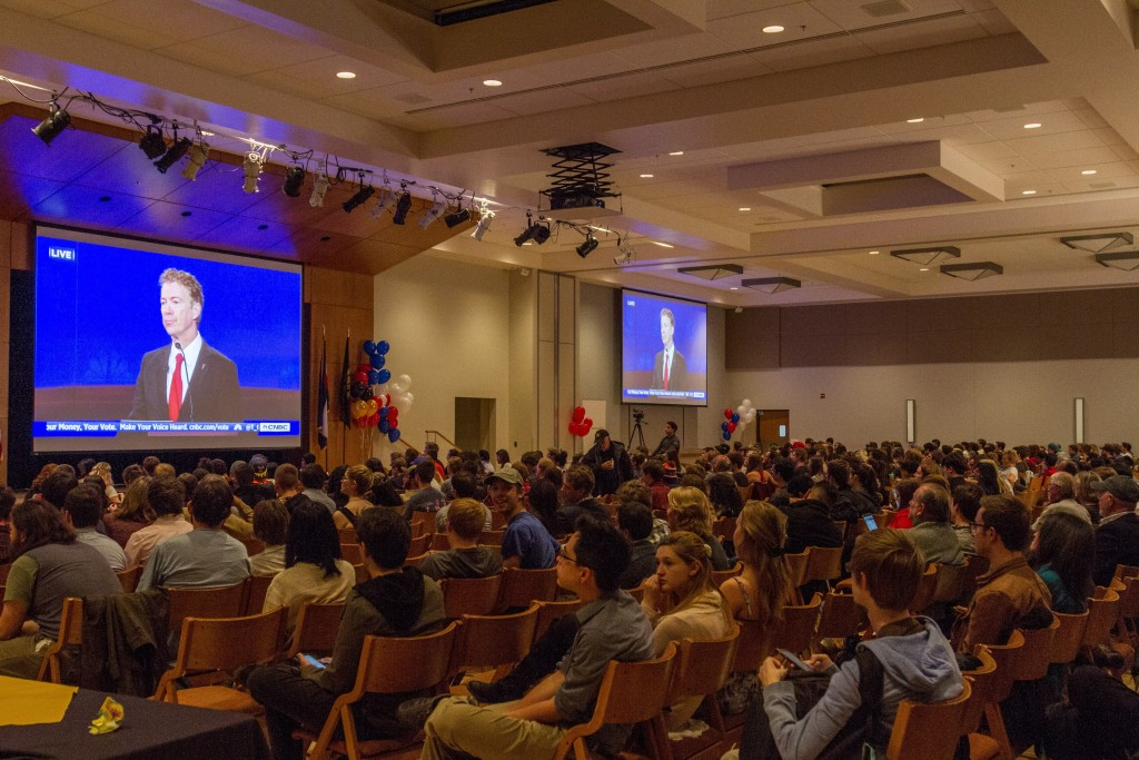 CU students, boulder residents, and media staff sit and watch the closing statements of the GOP Debate in the Glenn Miller Ballroom. October 28th, 2015. (Will McKay/CU Independent)