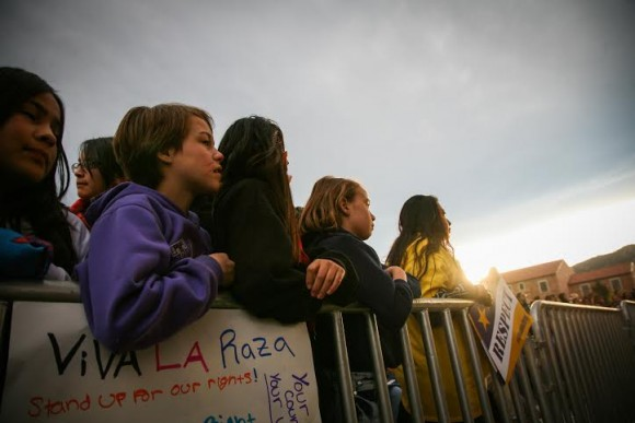 Even children were in attendence at the immigration rally on Farrand Field before the GOP debate in Boulder. (Danny Anderson/CU Independent)