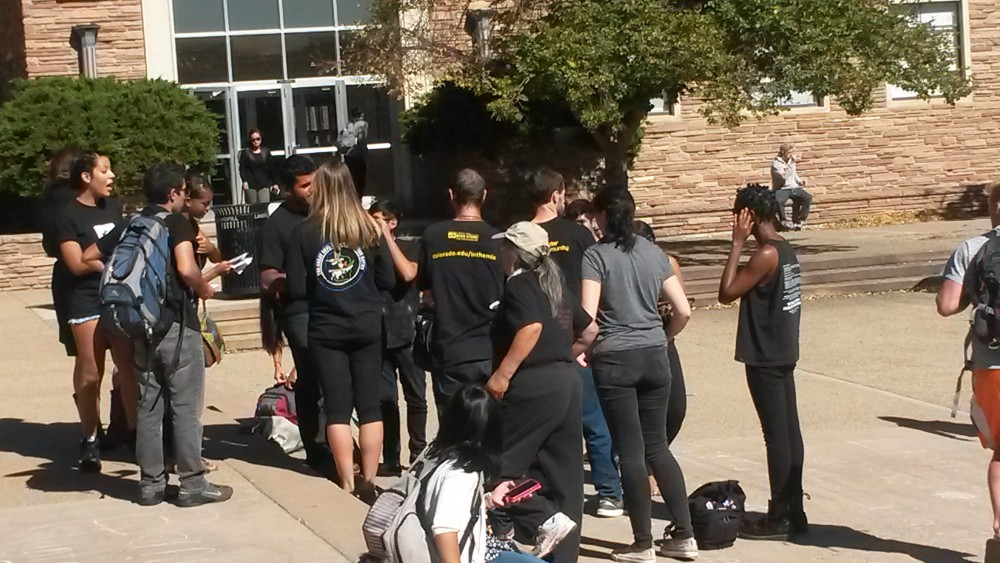 Students gather together on Columbus Day. (Trinity Clark/CU Independent)